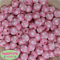 14mm Pink Polka Dots 20 pack