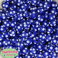 14mm Royal Blue Polka Dot Bubblegum Beads