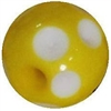14mm Yellow Polka Dot Acrylic Bubblegum Beads