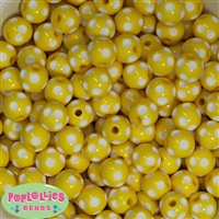 14mm Yellow Polka Dots 20 pack