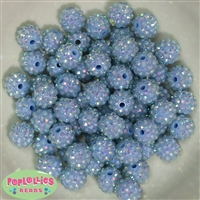 14mm Baby Blue Resin Rhinestone Bubblegum Beads Bulk