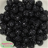 14mm Black Rhinestone Bubblegum Beads