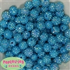 14mm Blue Rhinestone Bubblegum Beads