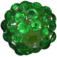 14mm Christmas Green Rhinestone Bubblegum Beads