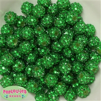 14mm Christmas Green Rhinestone 20 pack