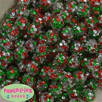 14mm Christmas Confetti Rhinestone Beads Bulk