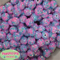 14mm Easter Confetti Rhinestone Bubblegum Beads