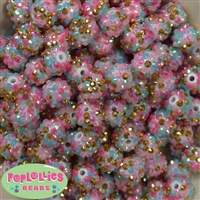 14mm Unicorn Confetti Rhinestone Bubblegum Beads Bulk