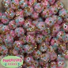 14mm Unicorn Confetti Rhinestone Bubblegum Beads