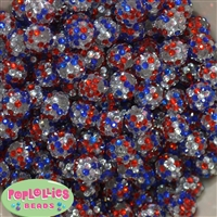 14mm USA Confetti Resin Rhinestone Bubblegum Bead Bulk