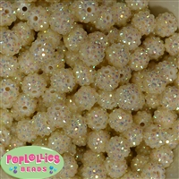 14mm Cream Rhinestone Bubblegum Beads Bulk