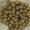 14mm Gold Metallic Rhinestone Bubblegum Beads