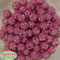 14mm Hot Pink Rhinestone Bubblegum Beads