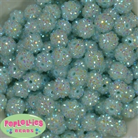 14mm Ice Mint Rhinestone Bubblegum Beads Bulk
