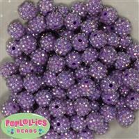 14mm Lavender Rhinestone Bubblegum Beads Bulk