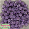 14mm Lavender Rhinestone Bubblegum Beads