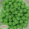 14mm Lime Green Rhinestone Bubblegum Beads