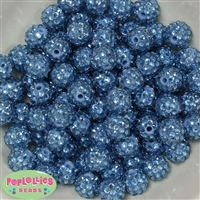 14mm Ocean Blue Rhinestone Bubblegum Beads