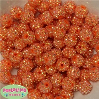 14mm Orange Rhinestone Bubblegum Beads