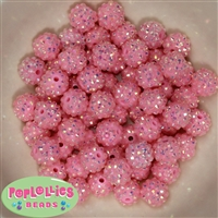 14mm Pink Rhinestone Bubblegum Beads