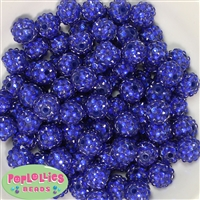 14mm Royal Blue Rhinestone Bubblegum Beads