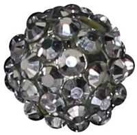 14mm Silver Rhinestone Bubblegum Beads