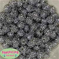 14mm Silver Rhinestone Bubblegum Beads Bulk