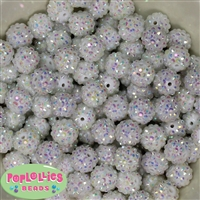 14mm White Rhinestone Bubblegum Beads