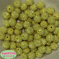 14mm Yellow Rhinestone Bubblegum Beads Bulk