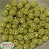 14mm Yellow Rhinestone Bubblegum Beads