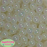 16mm White Bubble Acrylic Bubblegum Beads