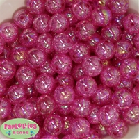 16mm Hot Pink Crackle Acrylic Bubblegum Beads