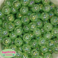 16mm Lime Green Crackle Beads