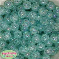 16mm Mint Crackle Gumball Beads