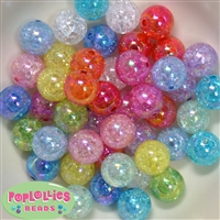 16mm Mix Crackle Acrylic Bubblegum Beads
