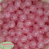 16mm Pink Crackle Acrylic Bubblegum Beads