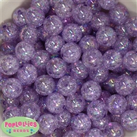 16mm Purple Crackle Acrylic Bubblegum Beads