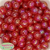 16mm Red Crackle Acrylic Bubblegum Beads