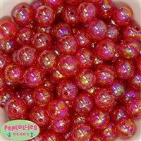 16mm Red Crackle Beads