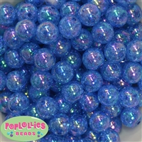 16mm Royal Blue Crackle Acrylic Bubblegum Beads