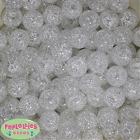 16mm White Crackle Acrylic Bubblegum Beads