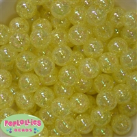 16mm Yellow Crackle Acrylic Bubblegum Beads
