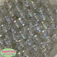 16mm Clear Glitter Solid Bead