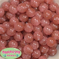 16mm Clear Coral Glitter Acrylic Gumball Bead