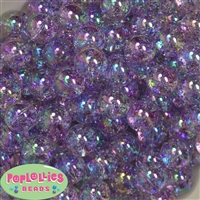 16mm Clear Lavender Glitter Acrylic Gumball Bead