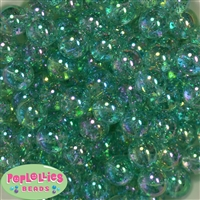 16mm Clear Turquoise Glitter Acrylic Gumball Bead