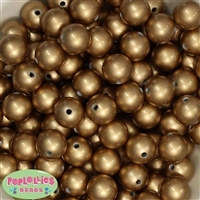 Bulk 16mm Matte Gold Faux Pearl Beads