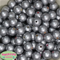 16mm Matte Silver Faux Pearl Acrylic Beads