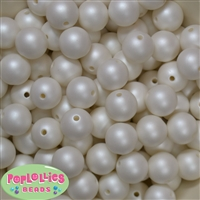 16mm White Matte Beads 20pc