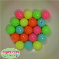 16mm Mixed Color Neon Beads 20pc